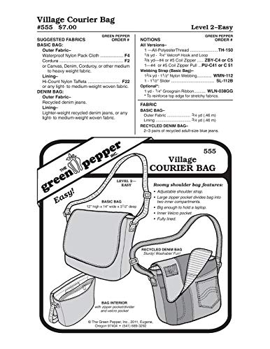 Green Pepper Fabric - Village Courier Bag (555GP) Sewing Patterns