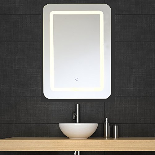 Bathroom Vanity Hanging (LED Bathroom Mirror Lighted Vanity Mirror and Defogger LED Mirror Light Hollywood Makeup LED Lighted Mirror Bathroom Silvered Mirror with Touch Button Wall Mount Vertical or Horizontal 19.7X27.6 In |)