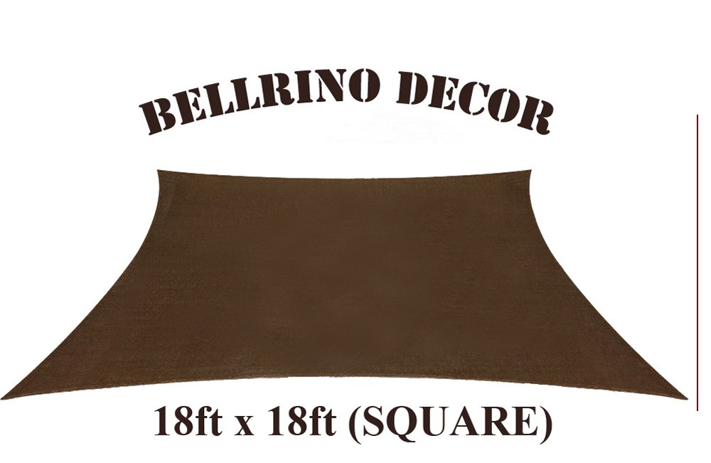 BELLRINO DECOR Thick and Strong Sun Shade Sail Square 18 X 18 FEET, BROWN