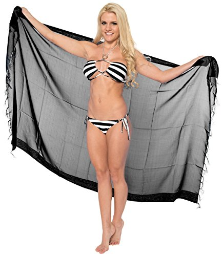 [La Leela Chiffon Hawaiian Women's Beach Bikini Swimwear Swimsuit Pareo Slit Skirt Pareo sarong Jacquard Black one Size Fathers Day Gifts Spring Summer] (Black Toga Dress)