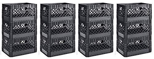 Muscle Rack PMK24QTB-3 24 Quart Black Heavy Duty Rectangular Stackable Dairy Milk Crates, 11