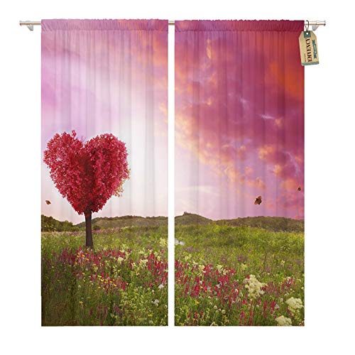 Emvency Window Curtains 2 Panels Rod Pocket Drapes Satin Polyester Blend Tree Love in Spring Red Heart Shaped at Sunset Beautiful Landscape Flowers Living Bedroom Drapes Set 104 x 63 Inches