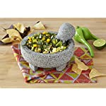 """IMUSA MEXI-2011M Granite Molcajete, 8"""", Gray 6 Made Of Granite Beautiful Serving Piece, goes Seamlessly From Kitchen to Table Easily Grinds Spices & Herbs"""