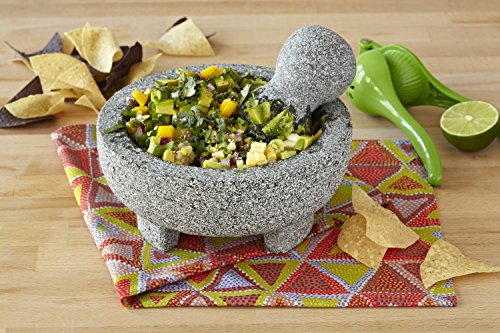 """IMUSA MEXI-2011M Granite Molcajete, 8"""", Gray 2 Made Of Granite Beautiful Serving Piece, goes Seamlessly From Kitchen to Table Easily Grinds Spices & Herbs"""