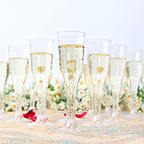 105 Pieces Plastic Champagne Glasses Gold Glitter, 5 Oz Plastic Champagne Flutes, Premium Disposable Clear Cups Prefect…