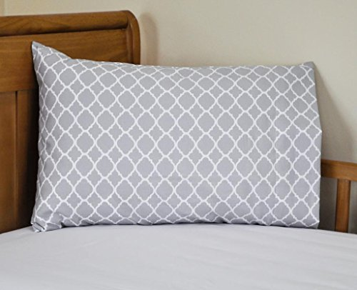 Gray Toddler Pillowcase Cute Quatrefoil (Lattice) Design 14x21 Great for Travel too! - Traditional Lattice