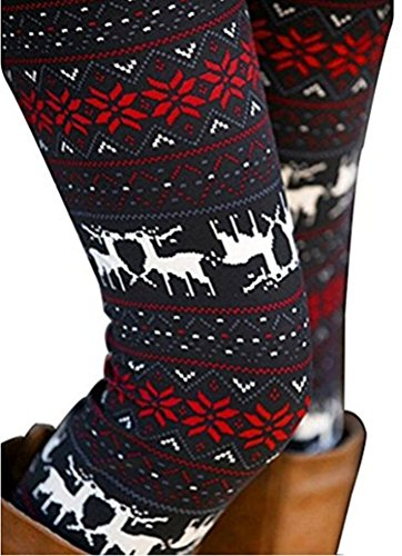 Women's Christmas Reindeer Snowflake Christmas Party Leggings Stretchy Tights -