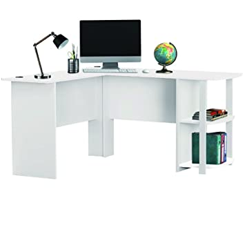 LIVIVO Large Stylish L Shaped Wooden Corner Office Desk With Book Shelves,  Large Top Surface