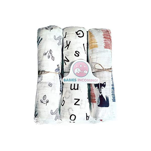Babies Incoming! Soft Swaddle Blanket 3-Pack| 100% Cotton Muslin Baby Swaddling Blankets: Wild