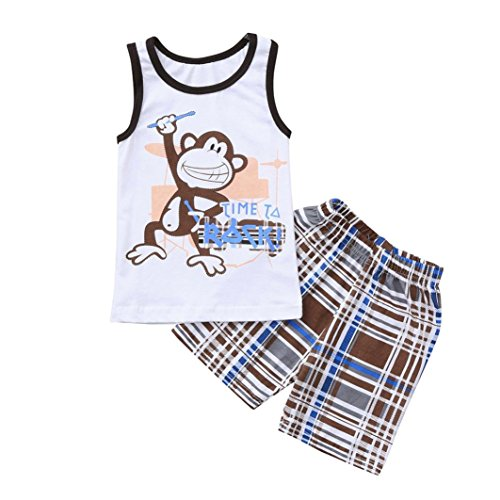 Moonker 2pcs Child Kids Baby Boys Monkey Letter Print Vest Tank Tops and Checks Print Pants Outfits Sets 1-6Yr (2-3 Years Old, White) from Moonker