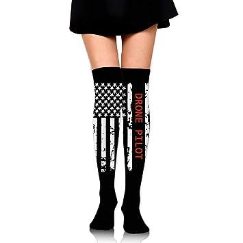 ruishandianqi Calcetines Altos Drone Pilot USA Flag Womens Fashion Over Knee Thigh High Socks Stocking
