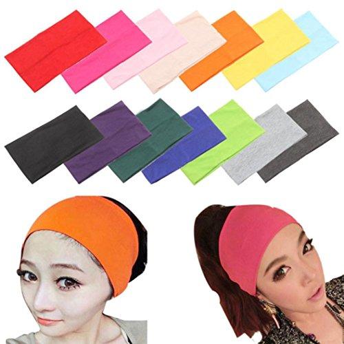 Omiky® Frauen Candy Farbe Wide Yoga Stirnband Stretch Haarband Elastic Turban M