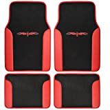 BDK MT-201-RD A Set of 4 Universal Fit Plush Carpet with Vinyl Trim Floor Mats For Cars / Trucks - Tattoo Red