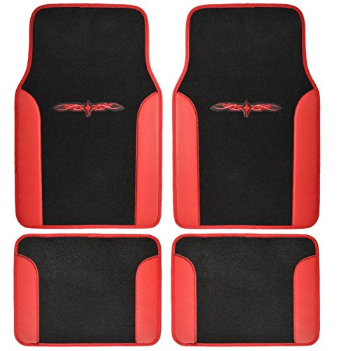 (BDK MT-201-RD A Set of 4 Universal Fit Plush Carpet with Vinyl Trim Floor Mats For Cars / Trucks - Tattoo Red)