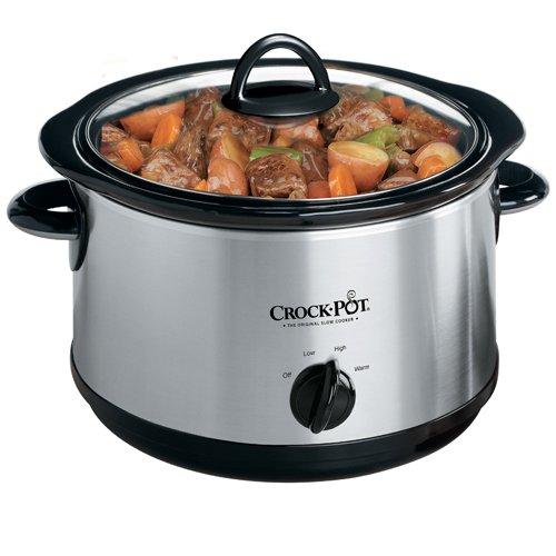 Crock-Pot Regular 5-Quart Round Manual Slow Cooker, Stainless Steel