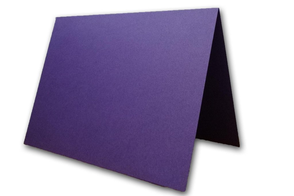 Blank Metallic Place Cards Heavyweight Tent Cards | Size 3.5'' x 5'' Flat 2.5'' x 3.5'' Folded (200, Violette)