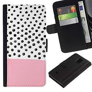 Samsung Galaxy S5 Mini / SM-G800 (Not For S5!!!) Modelo colorido cuero carpeta tirón caso cubierta piel Holster Funda protección - Pink Pattern Hand Drawn