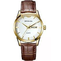 BRIGADA Classic Gold Mens Quartz Wrist Watch SwissBrand Business Casual Waterproof Watches for Men with Calendar