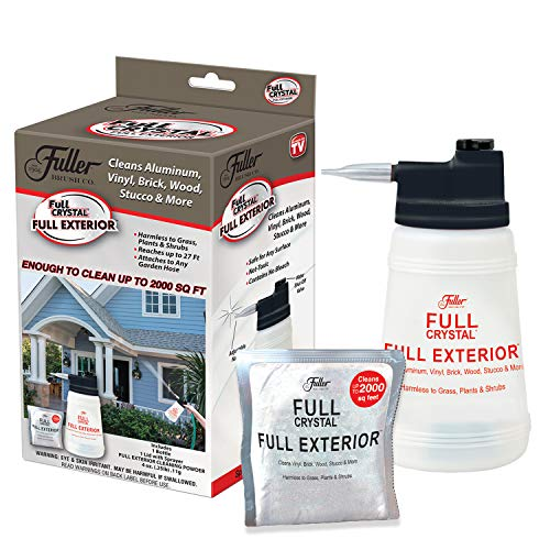 Full Exterior Kit - Bottle, Lid with Hose Attachment and One 4 oz. Crystal Powder Outdoor Cleaner (Cleans Up to 2,000 Sq. Ft): Non-Toxic, No Scrub, No Rinse Cleaning Kit