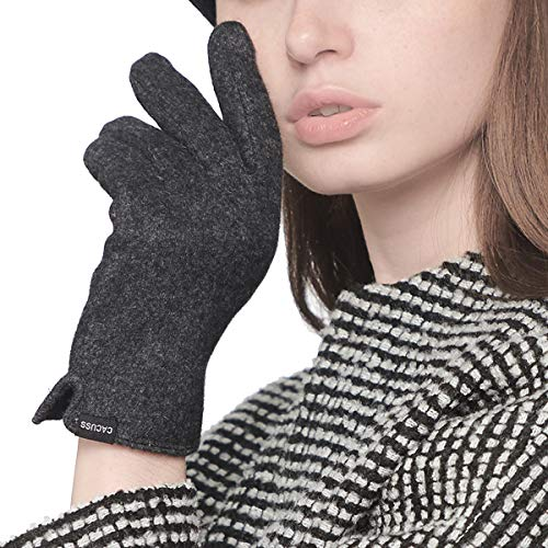 CACUSS Gloves Women Autumn and Winter Knit Gloves for Women Warm Touch Screen Gloves Wear-resistant Cycling Travel Windproof Finger Gloves Ladies (Dark gray) by CACUSS (Image #2)