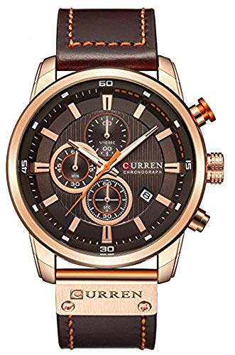 (Men Leather Strap Military Watches Men's Chronograph Waterproof Sport Wrist Date Quartz Wristwatch (Rose Gold & Brown))