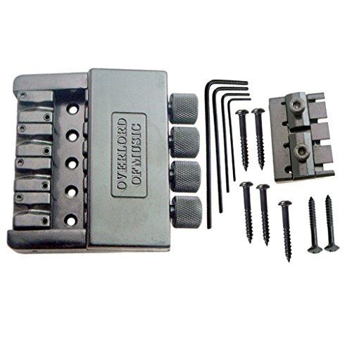 MonkeyJack 1 Set 4 String Saddle Headless Bridge Tailpiece with Screws Kit for Electric Bass ()
