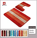Orange Bathroom Rug Sets Grand Era 2 Piece Bathroom Rug Polypropylene Fiber Mat Set and Contour Rug Set (22