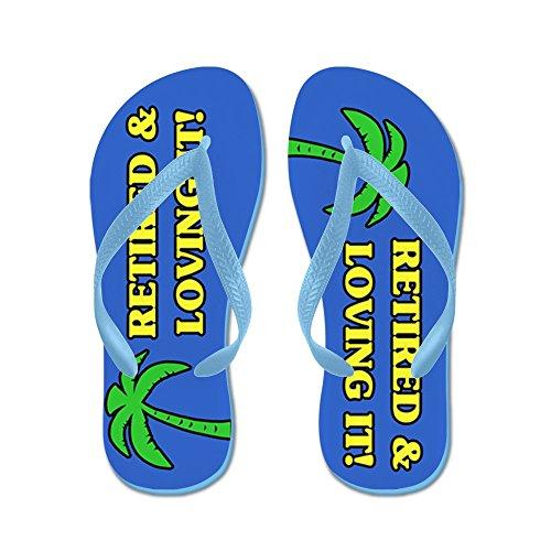 Cafepress Pensionerad & Loving It! - Flip Flops, Roliga Rem Sandaler, Strand Sandaler Caribbean Blue