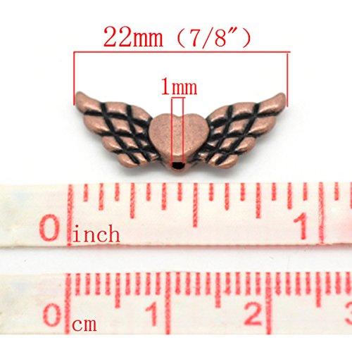 Housweety Bijoux 1 Perles Intercalaires Coeur&Aile Cuivre Rouge 22x9mm