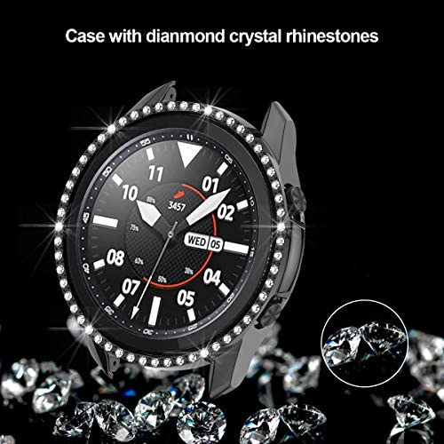 Samsung Galaxy Watch 3 41mm Hard Diamond Case,JZK Bling Crystal Diamonds Protective Cover PC Plated Bumper Frame Women Samsung Galaxy Watch 3 41mm SM-R850 Accessories,Black+Silver+Clear 51FrcI 2B8AnL