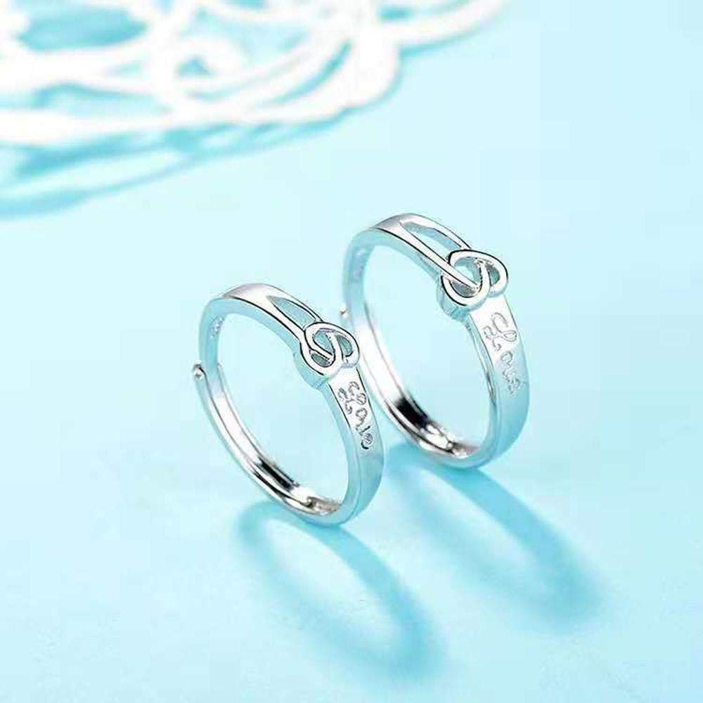 MGZDH Ring S925 Silver Couple Ring Love Diamond Ring refers to Men and Women to Ring