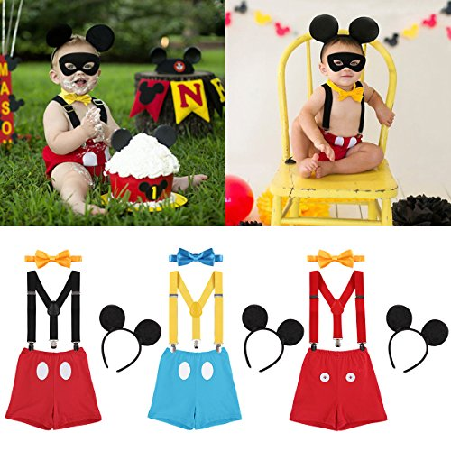FYMNSI Baby Boys 1st/2nd Birthday Cake Smash Mickey Costume Photo Props 4PCS Outfits Suspender Bloomers Bowtie Headband