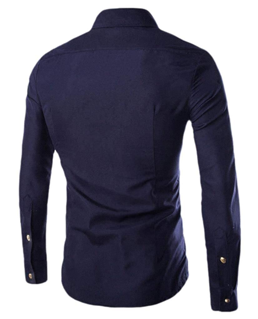 Comaba Mens Pure Color Long Sleeve Button Original Fit Shirt Blouse Tops
