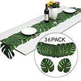 Suppromo 36 pcs Green Palm Leaves and Hibiscus Flowers Hawaiian Luau Party Jungle Beach Theme Table Decorations Accessories