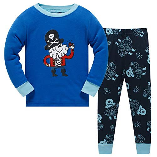 Schmoopy Boys Pajamas Long Sleeve Set with Pirate for Toddler and Little Kid Boys 2T ()