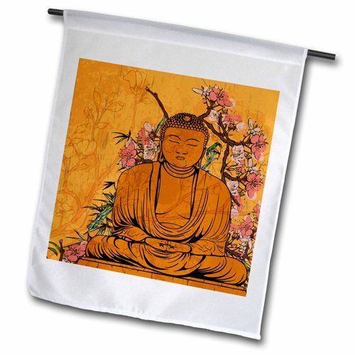 3dRose fl_116366_2 Buddha Statue with Lovely Pink Japanese Sakura Blossom Flowers Garden Flag, 18 by 27