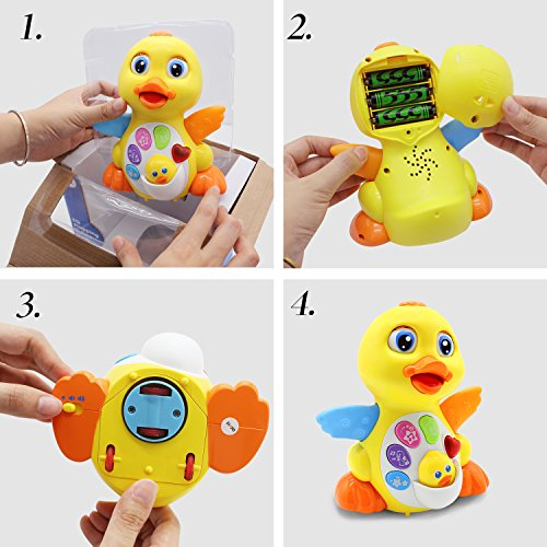 51FrcnYZPAL - HOMOFY Yellow Duck Baby Lovely Dancing Singing, Music Lights and Walking, Learning Kids Toys for Girls and Boys Or Toddlers