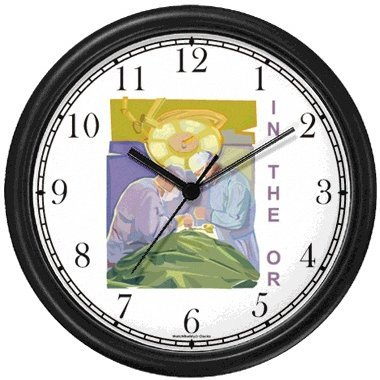 Surgeons in Operatinig Room Medical Doctor Wall Clock by WatchBuddy Timepieces (White Frame) by WatchBuddy