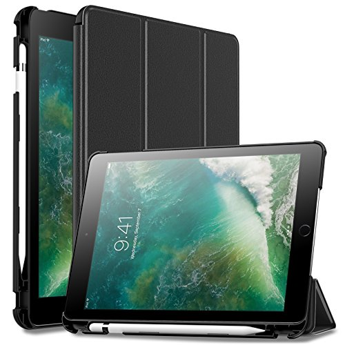 Infiland iPad 9.7 2018 Case with Apple Pencil Holder, Tri-Fo