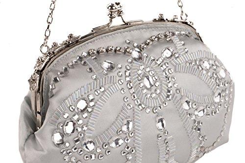 Pochette AC 759 Grigio Perla, borsetta in tessuto con ricami in jaiss