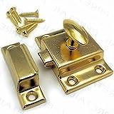 BS-3 Brass Plated Cabinet Door Latch with Catch Aantique Cabinet, Cupboard & Other Vintage Furniture Reproduction Restoration Hardware + Free Bonus (Skeleton Key Badge) (1)