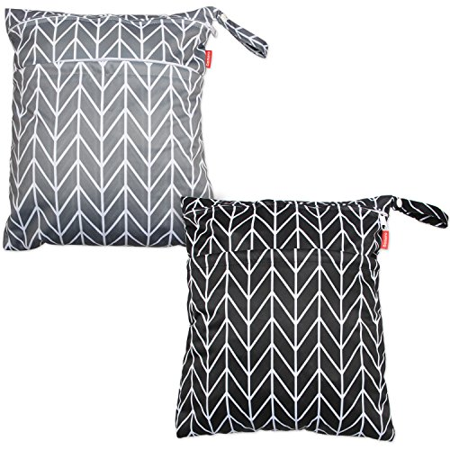 Damero 2pcs Travel Wet and Dry Bag with Handle for Cloth Diaper, Pumping Parts, Clothes, Swimsuit and More, Easy to Grab and Go (Large, Gray Arrows+ Black Arrows)