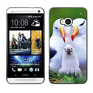 TopCaseStore / la caja del caucho duro de la cubierta de protección de la piel - Seagull Parents Love Child White Birds - HTC One M7