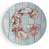 6'' Porcelain Plate Letter G Print Ceramic Decorative Plate Nautical Theme with Marine Animals Invertebrates Seashell Starfish