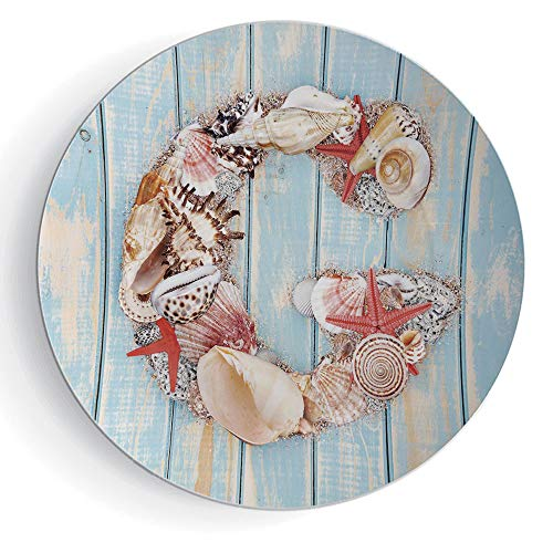 6'' Porcelain Plate Letter G Print Ceramic Decorative Plate Nautical Theme with Marine Animals Invertebrates Seashell Starfish by iPrint