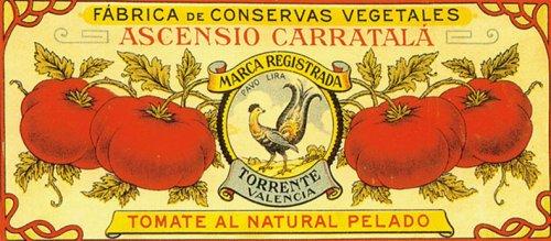 (WONDERFULITEMS TORRENTE VALENCIA TOMATE AL NATURAL PELADO SPAIN TOMATO CRATE LABEL 7