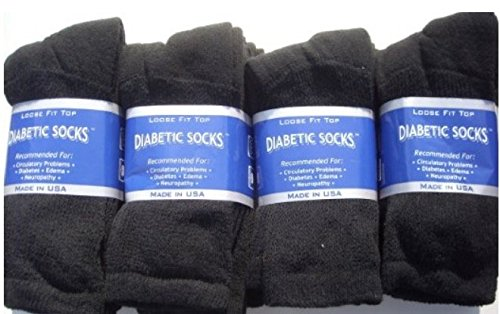 Creswell Diabetic Crew Men Socks/X-Large, Black, King Siz...