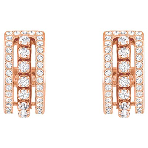 (Swarovski Crystal Authentic Further Pierced Earrings, White, Rose Gold Plated - High Class Stone Studded Fancy Jewelry and Elegant Fashion Accessories - Women's Wedding and Cocktail Jewelries)