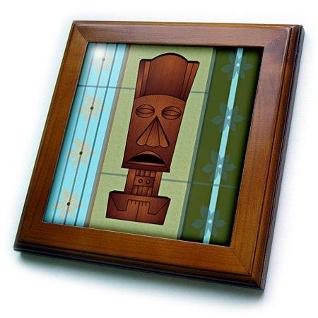 3dRose ft_77493_1 Wood Grain Tropical Tiki Mask-Hawaiian Flowers Orange Blue and Green-Framed Tile, 8 by 8-Inch