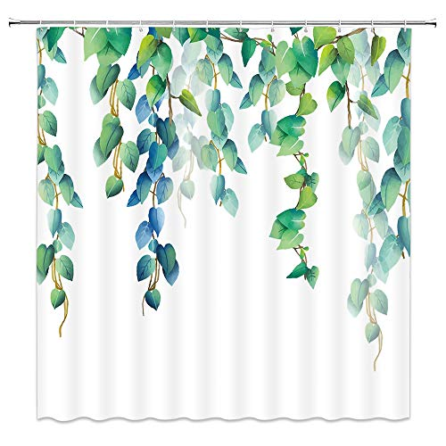 AMNYSF Leaf Shower Curtain Watercolor Plants Green Blue Tree Leaves Vines Decor White Fabric Bathroom Curtains,Waterproof Polyester with Hooks 70x70 Inch (Blue Green Curtain Shower White)